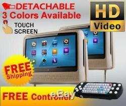2020 Tan Dual 9 Digital Touch Screen Headrest LCD Car Monitor DVD Usb Player