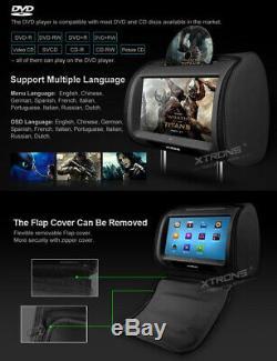 2 x 9 TFT LCD Touch Screen Car Headrest DVD Player Pillow Monitor Zipper Covers