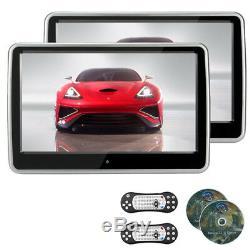 2pcs 10.1'' TFT LCD Touch Screen Headrest DVD Player IR/FM/Speaker DVD/VCD/MP3