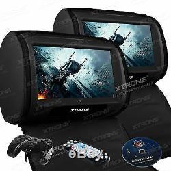 Black Car Headrest DVD Player 2x 9 TFT LCD Touch Screen FM/IR Game Zipper Cover