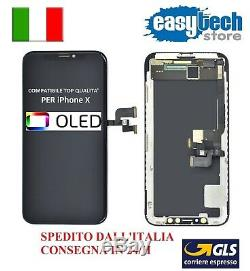 DISPLAY LCD Schermo Vetro Per iPhone X 10 OLED Top Touch Screen NERO / BLACK