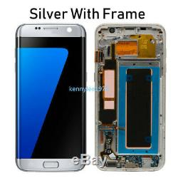 Für Samsung Galaxy S7 Edge SM-G935F LCD Display Touch Screen Rahmen Silber+Cover