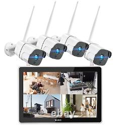 TOGUARD 12 NVR 8CH Monitor Wireless Home Outdoor Security System IR NightVision