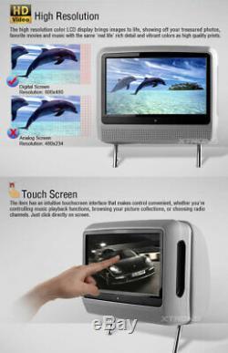 2020 Gris Double 9 Car LCD Moniteur Numérique À Écran Tactile Têtière Lecteur DVD Usb