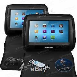 2 X 9 Tft LCD Écran Tactile Voiture Appui-tête Lecteur DVD Oreiller Moniteur Couvre Zipper