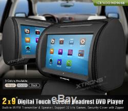 2x9digital LCD Tft Écran Tactile Têtière Lecteur DVD Coussin Moniteur Fm / Ir / Usb