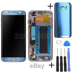 Für Samsung Galaxy S7 Bord G935f LCD Écran Tactile Bildschirm + Rahmen Blau