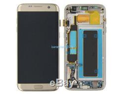 Für Samsung Galaxy S7 Bord Sm-g935f Écran LCD Écran Tactile Rahmen Gold + Couverture