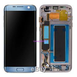 Pour LCD Samsung Galaxy S7 Bord G935f Écran + Écran Tactile + Cadre + Couvercle Bleu + Corail