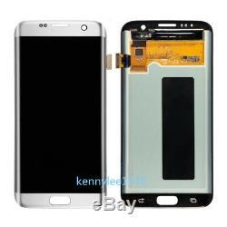 Pour Samsung Galaxy S7 Bord G935f Écran LCD À Écran Tactile Digitizer Argent + Couvercle