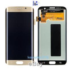 Pour Samsung Galaxy S7 Edge Sm-g935f Ecran Tactile Digitizer Doré + Couverture