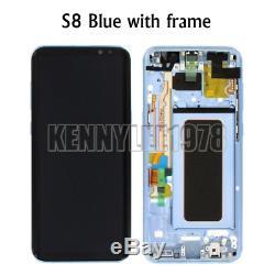 Pour Samsung Galaxy S8 G950f LCD Écran Tactile Digitizer + Cadre + Couverture Bleu