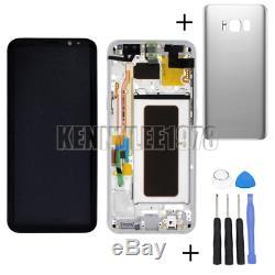 Pour Samsung Galaxy S8 Sm-g950f G950 Écran LCD Écran Tactile Rahmen Silber + Couverture