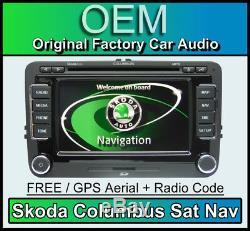 Skoda Columbus Sat Nav Stéréo De Voiture, Superbe Navigation Radio Lecteur CD 2019 Cartes