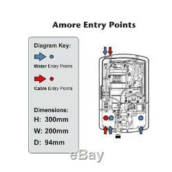 Triton Amore Gloss Black 9.5kw Électrique Douche Écran LCD Tactile Numérique & Kit